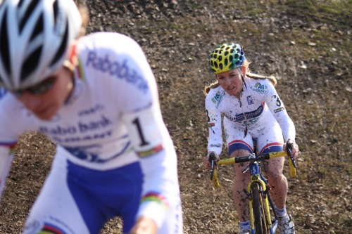 Crashes or not, Daphny Van Den Brand spent most of the day chasing Vos - Cyclocross World Cup Liévin 2012 - Photo from Velonews gallery of race photos