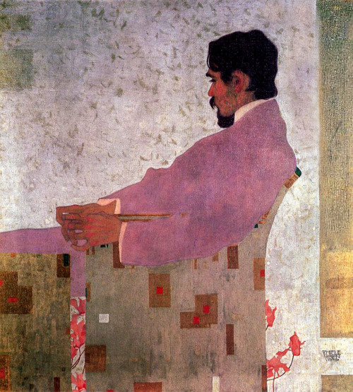 deadpaint:  Egon Schiele, Portrait of the Painter Anton Peschka, 1909