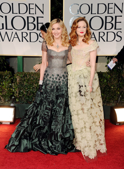 Andrea Riseborough alongside Madonna, looked breathtaking in a Vivienne Westwood Dress at the 2012 Golden Globes