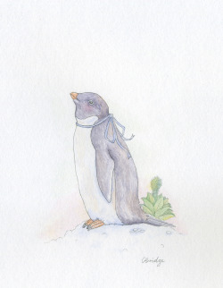 """adelie""watercolour and graphite A little Adelie penguin for my boyfriend :) by Calliope Bridge"
