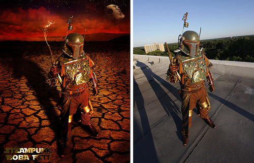 Before and After - Steampunk Boba Fett photo by cory mcburnetthttp://www.facebook.com/corymcburnett full photo linkhttp://corymc.tumblr.com/post/5136830415/steampunk-boba-fett-on-tatooine-photo-by