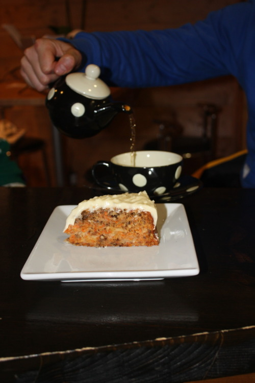 carrot cake and a cuppa