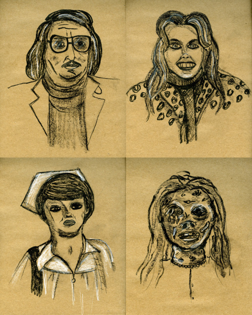 THE CAST OF MANIAC. When I was a kid I used to draw pretty regularly. I never considered myself a very good illustrator and based on these drawings I just did of the main characters in William Lustig's Maniac, I guess I still don't.  But they were fun to do.  I did not do Sharon Mitchell justice and made her face too small and chubby, but if you turn the drawing upside down it does look a little more like her.  Clearly Caroline Munro looks more like the maniac than Joe Spinell. I  kind of like how Frank Zito and his rotting corpse of a mom turned out.