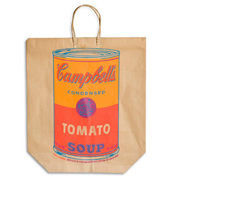 "DATE: 1966  TYPE: Paper SIZE: 19"" x 16.75"" CATEGORY: ART Campbell's Soup Can   Andy Warhol first exhibited his controversial series of  silk-screened Campbell's Soup can paintings in 1962. In 1964, Warhol and  other artists collaborated on The American Supermarket, at New  York City's Bianchini Gallery, which mixed real objects with Pop Art  versions. Warhol produced the shopping bag shown above for an exhibition  of his work (October 1-November 6, 1966) at the Institute of  Contemporary Art in Boston.   Source: The Museum of Bags"