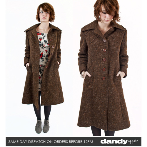"Newly listed @ www.dandyapple.co.uk Link: http://bit.ly/yW7HDU Womens Vintage Retro Windsmoor Dark Brown Wool Mix Single Breasted Coat. *   Brown in colour, made from a wool and polyester mix material. *   Lined inside with a dark brown acetate material. *   Button fastening chest. Two open hip pockets. *   Label reads ""Windsmoor - Made in England"". *   Sam is a size 8, 5ft 6 inches tall. Size: 10 Material: 60% Wool 20% Viscose 20% Polyester Condition: No visible faults, marks or stains. Great overall used vintage condition. More items like this are available here: http://bit.ly/szLgZW"