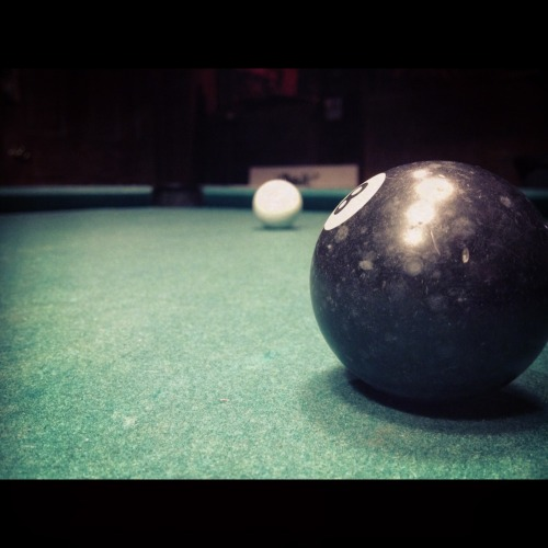 there are a few things i miss out there… but none as much as playing pool… there was something about those pool halls, the sound of breaking a fresh rack, the way ur hands get blue from over applying chalk. the way the lights are dim, but the lights on ur table are nice and bright. those jukebox's, cigerrette smoke. the sounds of people  people talking loud but unable to make out wat they are saying… see they say in life wen u do things over and over again u no longer realize u are doing them ur mind goes in autopilot. it becomes a form of hypnosis. just like when u are driving. i use to love playing pool. it was so relaxing.. if i couldnt sleeped id go in at 1230 am.. play till 4 am. non stop by myself.. or with other people. i loved the competitiveness. the comrodary. i used to be able to look at a table and run it thru in my head. shot for shot before i even took the first shot. and then i would reenact what i predicted.. damn i miss it.. a real game of thinking. its an art. my first piece of furniture i ever buy for my first house will be a pool table. and when i look for a house.. while my wife looks for a place to pugt the tv or couch.. ill be looking if the place could have a nice pool table in it..