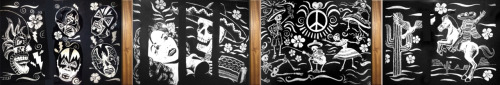 These are the four panels created so far for my design decor in the Mexican restaurant… in the order they appear when standing in front of the bar.
