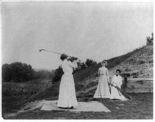 "Three women playing golf by Frances Benjamin Johnston one of America's earliest female photographers and photojournalists. Via holdthisphoto  Frances ""Fannie"" Benjamin Johnston (15 January 1864 – 16 May 1952) was one of the earliest American female photographers and photojournalists. […] Her mother, Frances Antoinette Johnston, had been a congressional journalist and dramatic critic for the Baltimore Sun[6] and her daughter built on her familiarity with the Washington political scene by becoming official White House photographer for the Harrison, Cleveland, McKinley,[7]""TR"" Roosevelt, and Taft presidential administrations."