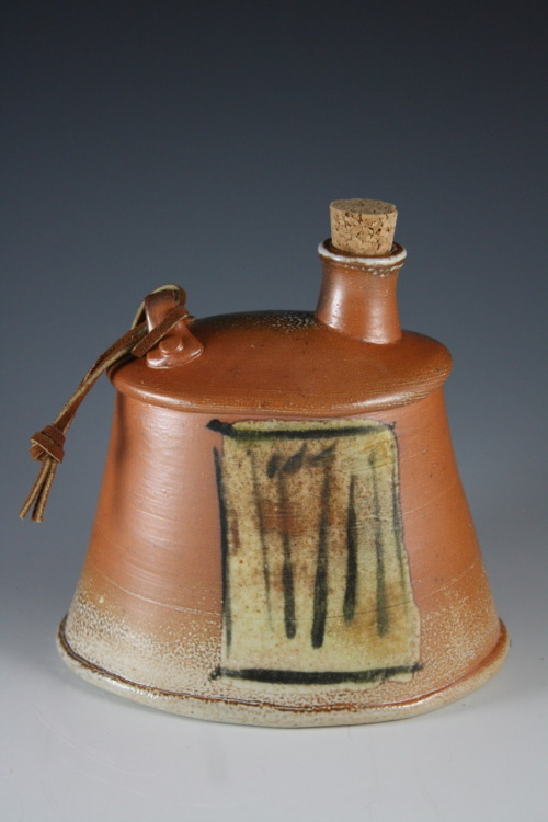 "Deborah Britt: Whisky Flask, 6"" x 5.75"", Wheel-Thrown and Altered, Salt-Fired Porcelain with Slip and Glaze Decoration, Cone Ten, 2011"