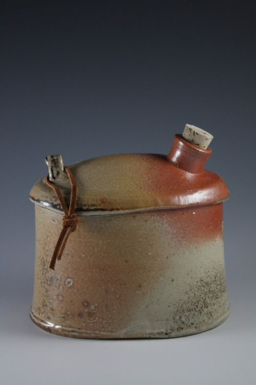 "Deborah Britt: Whisky Flask I, 5.5"" x 6"" x 4"", Wheel-Thrown and Altered, Salt-Fired Porcelain with Slip Decoration, Cone Ten, 2011"