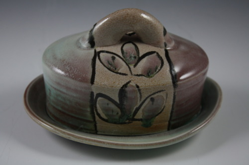 "Deborah Britt: VC Matte Butter Dish, 4' x 5.5"", Wheel-Thrown and Altered, Salt-Fired Porcelain with Slip and Glaze Decoration, Cone Ten, 2011"