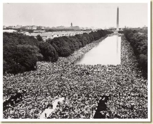 "March on Washington, 1963  ""Man must evolve for all human conflict a method which rejects revenge, aggression and retaliation. The foundation of such a method is love."" - Martin Luther King Jr. We'll have more on Martin Luther King Jr. tonight on the NewsHour. In the meantime, check out our piece on the MLK memorial, 27 years in the making, and a round up of MLK segments from public media stations around the nation."
