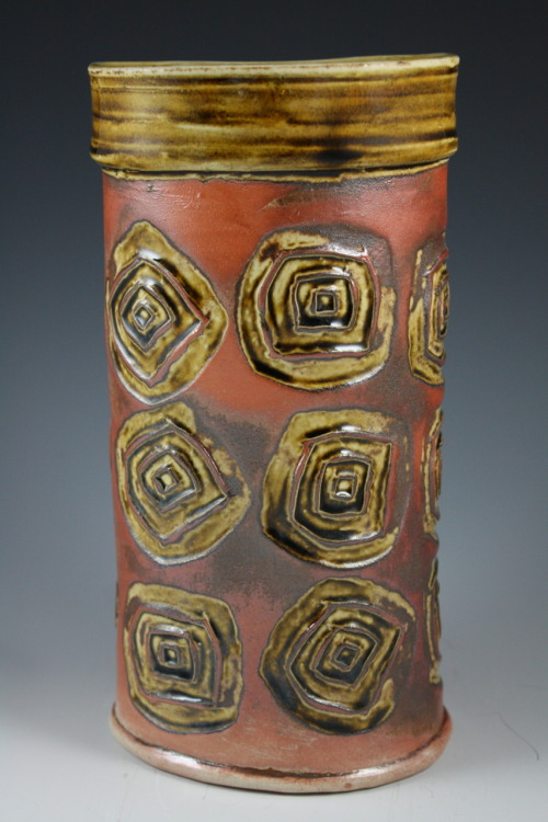 "Deborah Britt: Stamped Vase, 9"" x 4"", Wheel-Thrown and Altered, Salt-Fired Porcelain with Honey Weiser Glaze and Stamp decoration, Cone Ten, 2011"