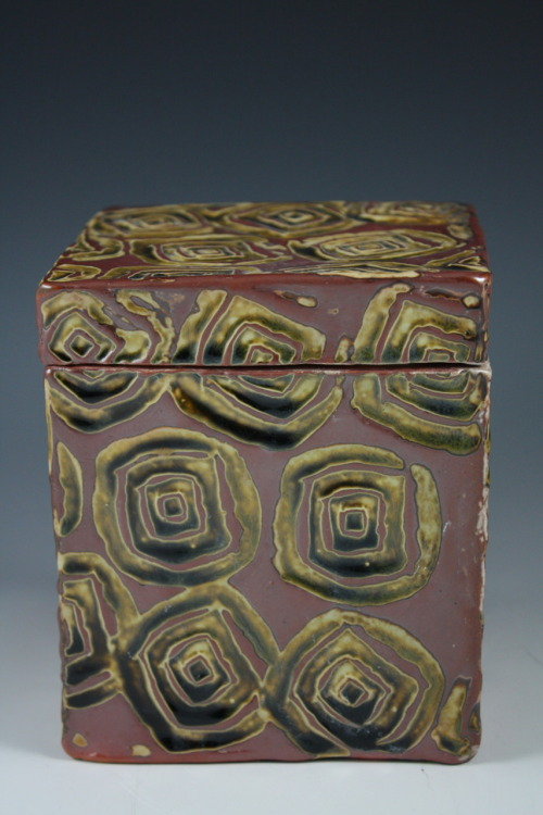 "Deborah Britt: Stamped Box, 6"" x 4.5"", Hand-Built, Salt-Fired Porcelain with Honey Weiser Glaze and Stamp Decoration, Cone Ten, 2011"