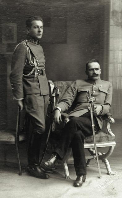 Polish general, military adjutant of Chief of State Józef Piłsudski, politician, poet and diplomat Bolesław Wieniawa-Długoszowski with Piłsudski himself.Wieniawa-Długoszowski was the most colorful character of Second Polish Republic. He is said to have been a typical Polish cavalryman, Warsaw's favorite, often considered as a reveler but also as an upstanding soldier. His story is very interesting but tragic at the same time. Being in deep sorrow because of his impossibility to return to miliary service and fight for Poland, Wieniawa-Długoszowski comitted suicide by jumping out of the window of his apartment in New York on 1 July 1942.