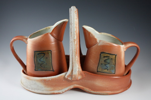 "Deborah Britt: Pitcher Set, 9"" x 14"", Wheel-Thrown and Altered, Salt-Fired with Slip and Glaze Decoration, Cone Ten, 2011"