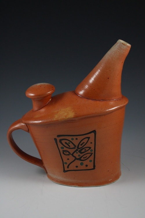"Deborah Britt: Jaunty Pouring Vessel, 9"" x 9"", Wheel-Thrown and Altered, Salt-Fired Porcelain with Slip and Glaze Decoration, Cone Ten, 2011"