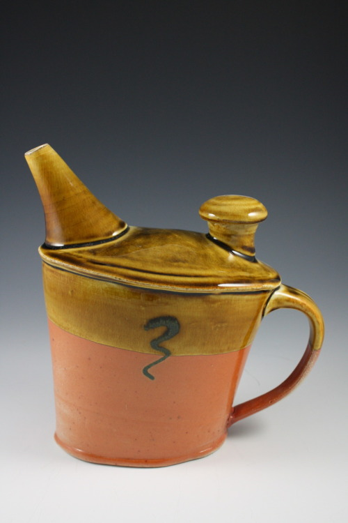 "Deborah Britt: Jaunty Pouring Vessel II, 9"" x 7"", Wheel-Thrown and Altered, Salt-Fired Porcelain with Glaze Decoration, Cone Ten, 2011"