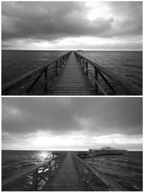 Long bridge deck. Bjerreds Saltsjöbad, Sweden, on a rather windy day in December 2011. There's a sauna located in the in the house at the end of the bridge deck. During a bachelor party me and my mates had a little sauna session out there before jumping in to the incredibly cold water.