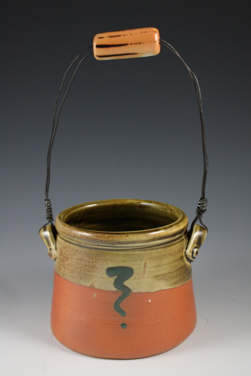 "Deborah Britt: Basket, 12"" x 6"", Wheel-Thrown with Hand-Built and Wire Handle, Salt-Fired Porcelain with Slip and Glaze Decoration, Cone Ten, 2011"