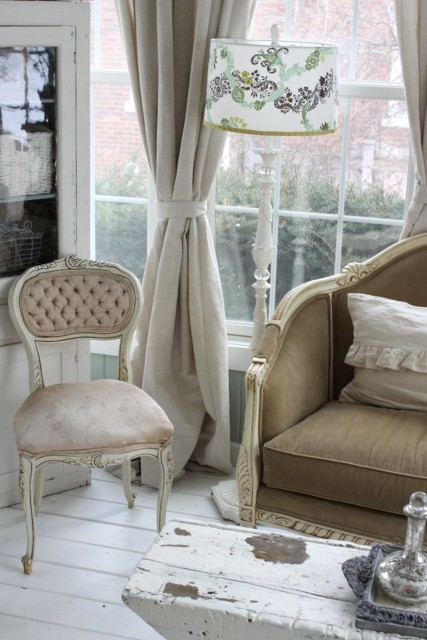 A pretty, Shabby Chic room with French style furniture (via  Kasey Buick)