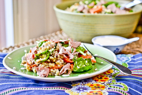 Roast Beef Couscous Salad I haven't made this yet but it looks yummy and healthy too!   http://www.fullforkahead.com/2012/01/06/roast-beef-couscous-salad/