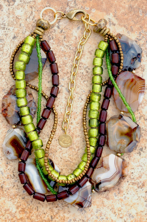 Custom Necklace: Gorgeous Banded Agate Slice, Green Glass, Brown Buri Seed and Bronze Multi-Strand Necklace