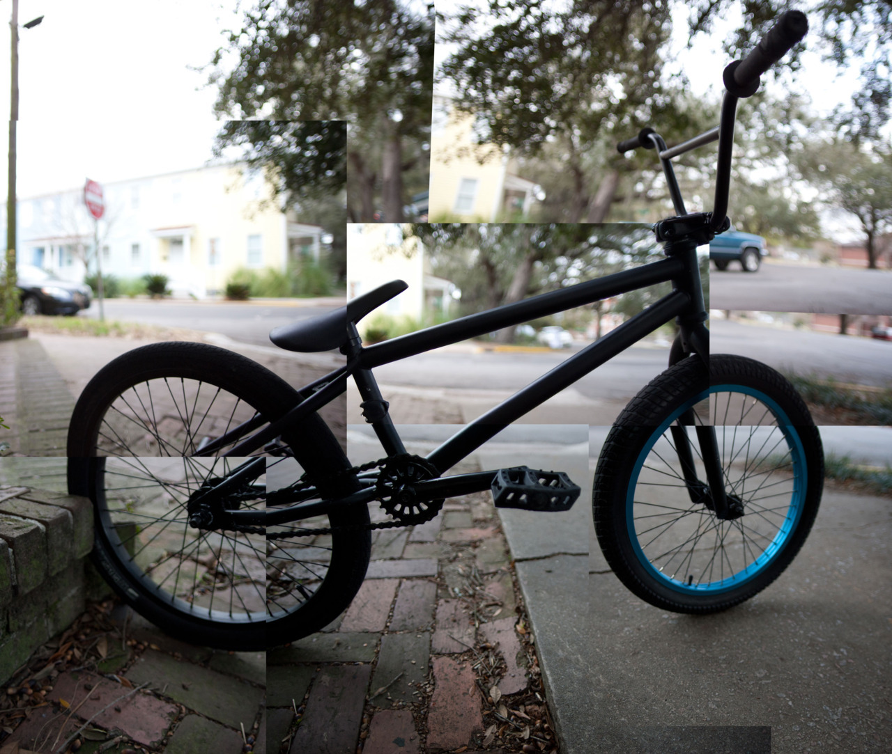 Made a dumb panorama thing of my bmx bike. Shaved off the brake mounts on the top tube and seat stays, smoothed it out, and painted over. Looks pretty legit. wethepeople justice frame, salt components everywhere else.  ~24lbs