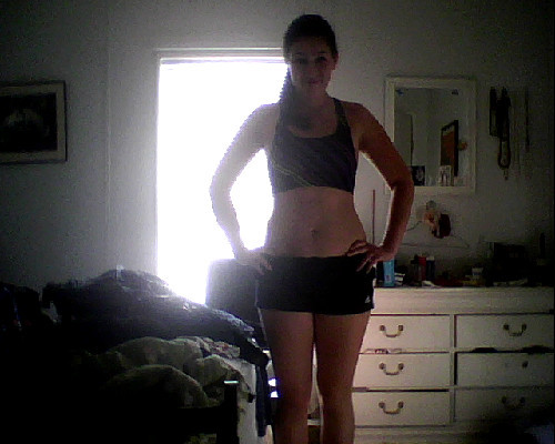 Here's my first Progress photo! I'm getting ready to head to the gym. Weight: 154.4 lost one pound!