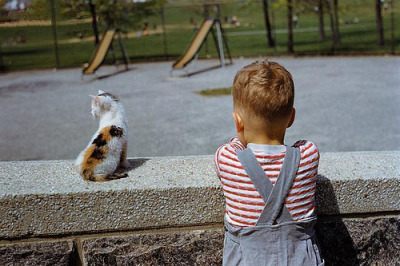 fuckyeahvintage-retro:   Boy standing with kitten in schoolyard. South Carolina, 1952 © William Gottlieb