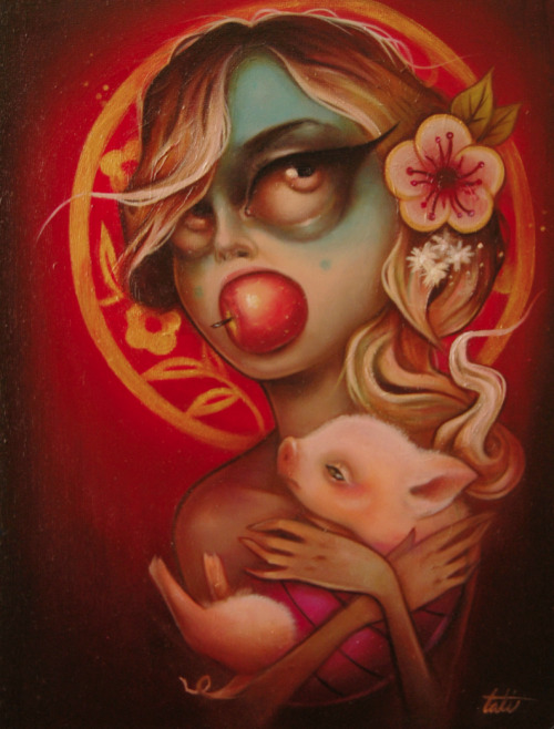 ' year of the piglet ' piece done for the New Moon show at My Plastic Heart which opens friday. oink.