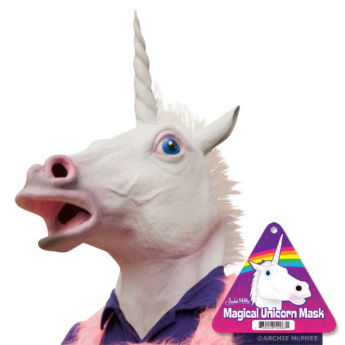 iheartchaos:  Thing you can buy: This terrifying unicorn head mask Only $29.95 at Archie McPhee Via  Here's the thing. I need this. Like really need this.