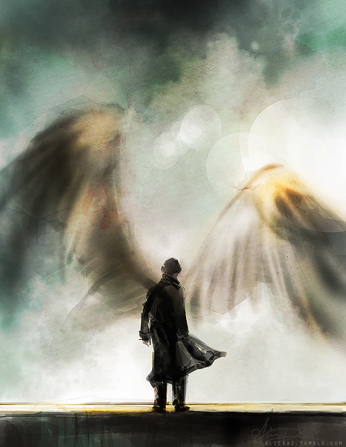moraniarty:  alicexz:  You're on the side of the angels… I seriously pictured this when he got up on the ledge though. Through my tears, of course.   #BRING ON ALL THE WINGLOCK  #IT'S CANON NOW