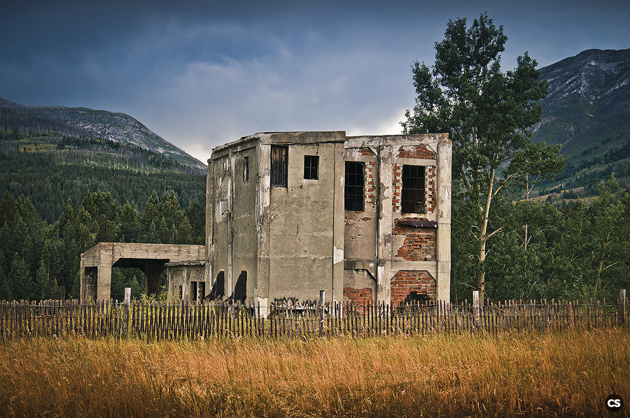 an old, worn down mining building near Frank, Alberta.