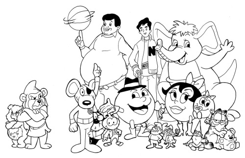 80's Cartoons Appreciation Week Drawing #8: Random cartoon fun! Today's drawing is just a bunch of fun random 80's cartoon characters :) Can you name them all?