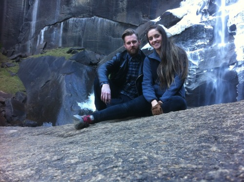 Me, my lady, and a snowy waterfall.