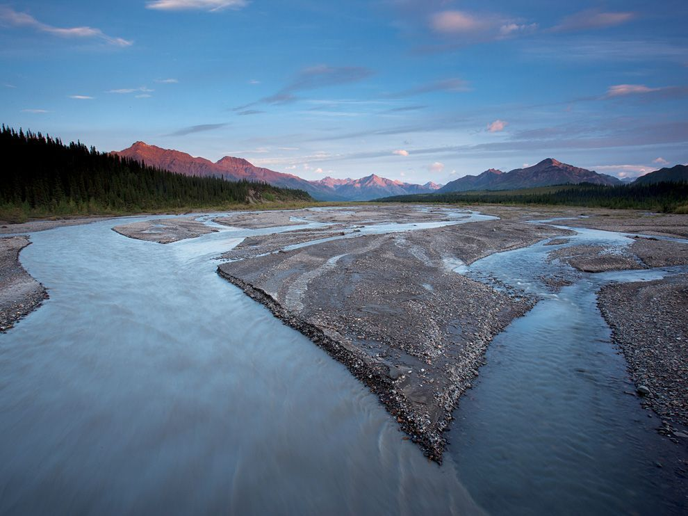 Teklanika River, AlaskaPhoto: Michael Melford Teklanika River snakes through the raw wilds of Denali National Park. Alaska's many parks and refuges are some of the last holdouts of pristine nature left in the United States.