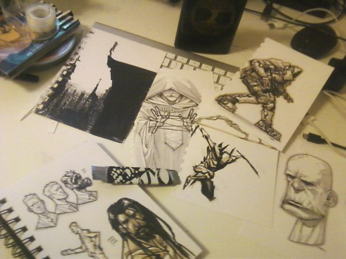 Scan party! Prepping for my new sketchbook! 2012 is the year of the SKETCH GOBLIN!