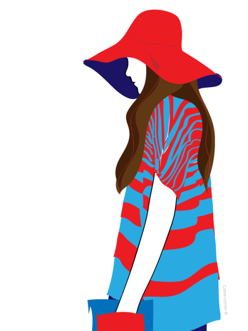 Love the three contrasting red/blue elements, hat, shirt and clutch!