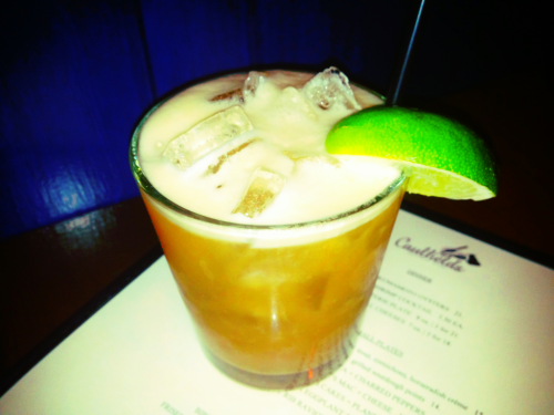 The Siciliano: tequila, Amaro, agave, lime, egg white.