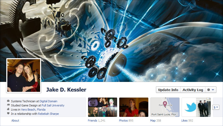 jakesaysthings:  Screwing around with facebook's new timeline thing. Banner images for the win?  You win. Prize? Everything.