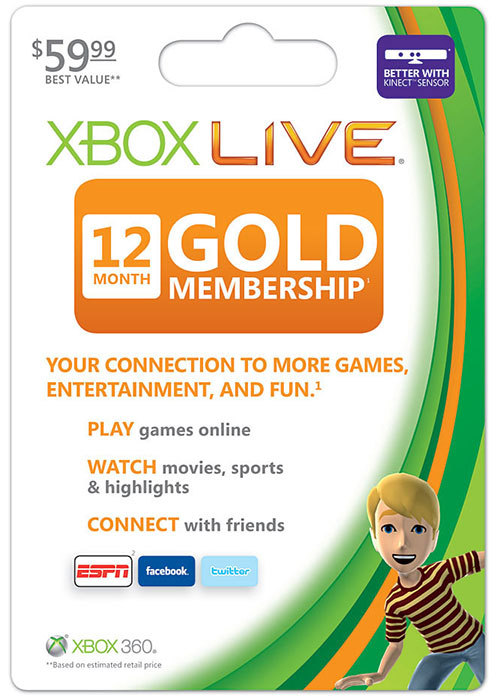 gamefreaksnz:  Xbox LIVE 12 Month Gold Membership $59.99 $39.99 (33% off)