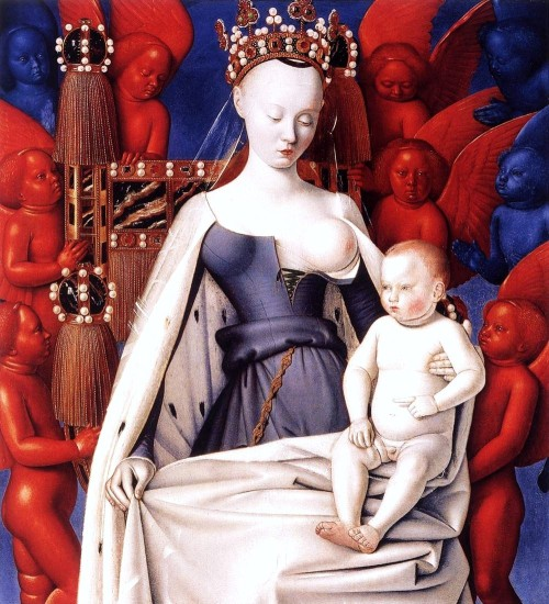 aclockworkorange:  Jean Fouquet, Melun Diptych, Virgin and Child, 1451