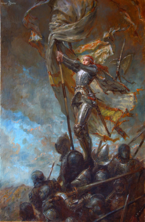 "womenfighters:  Sergei Starko's ""The Victory"", oil on canvas. Hat-tip to virusq. EDIT: somehow got double-posted, sorry if that screwed up reblogs."