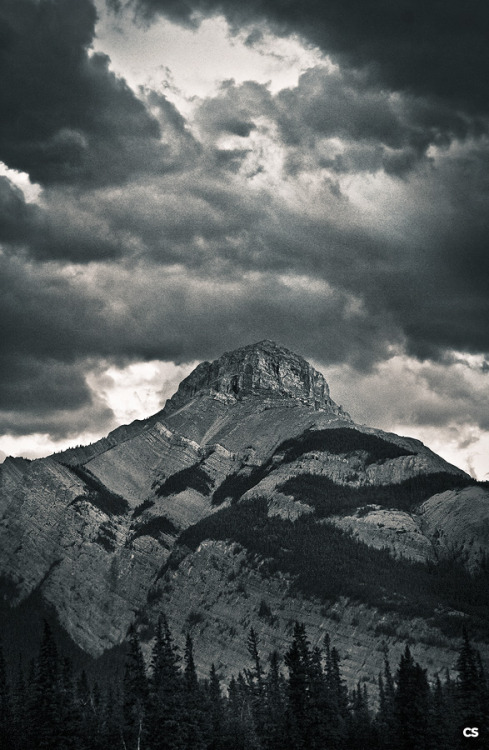 a mountain peak seen driving through Alberta just south of Canmore.