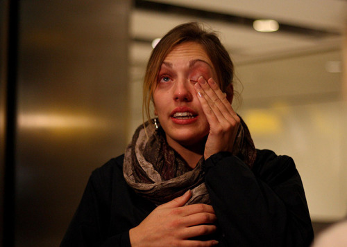 Dancer Rose Metcalf, 23, from Dorset, wipes away a tear as she arrives back at Heathrow airport. She was one of the survivors on the luxury cruise liner, Costa Concordia, which ran aground off the coast of  Tuscany, killing at least six people and forcing some 4,200 people on  board to evacuate. Read more of her story here. Photograph: Steve Parsons/PA