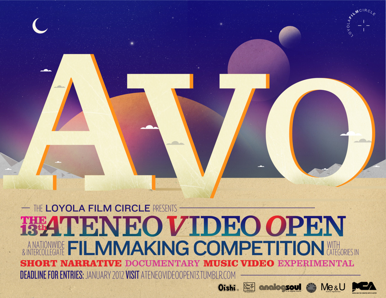 ateneovideoopen13:  Hey you! Did you make a FILM for your THESIS?Or made a VIDEO for a PROJECT?Or maybe, made a VIDEO with your friends just for fun?Interested in entering in a competition? It's your lucky day!Join the Ateneo Video Open 13!This is a great opportunity for you to exhibit your talent and passion for filmmaking!Deadline of submission of entries is on January 27, 2012 For inquiries, contact the AVO Team through ateneovideoopen13@yahoo.com.ph . You can also contact Will Fernandez at 09175358025 or Hanna Abdulrahman at 09178526145.