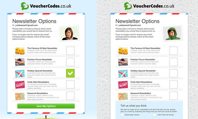 Vouchercodes- On the unsubscribe page the background & editor's avatar turns from a blue (sunny day) background to a rainy day when unsubscribing from all newsletters. /via edg