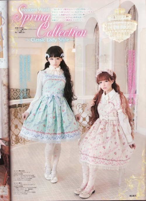 kawaii-lime:  Innocent world's print seems both elegant and sweet, using unusual colours for classic, may get it for the days I want to be a littler tamer in my wearables…