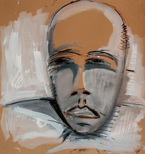 AlleBi, Self Portrait, mixed technique on cardboard, 115x106 cm, 2011